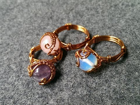 Rings with spherical stones - handmade jewelry design 122