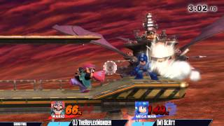 Mega Man becomes one with Halberd, befuddles Wario and commentators.