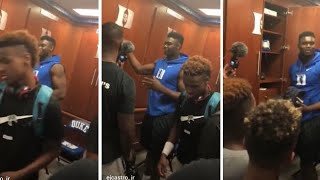 LeBron  James Jr. walk away when zion williamson was ask who has the best hoop shoe kyrie or lebron