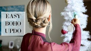 HOLIDAY PARTY HAIR TUTORIAL | Easy Boho Updo Hairstyle by Leigh Ann Says