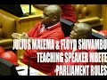 EFF Julius Malema &Floyd Shivambu  Teaching  Parliament Rules To Speaker Mbete