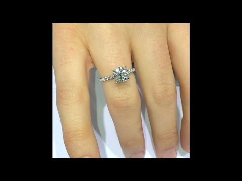1.60 ct Round Diamond in 4-Prong Micro Pave Engagement Ring