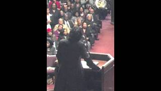 """Rev. Dr. Gwen Boyd singing """"Great is Thy Faithfulness"""" at Ebenezer, just before preaching her last sermon before going to her..."""