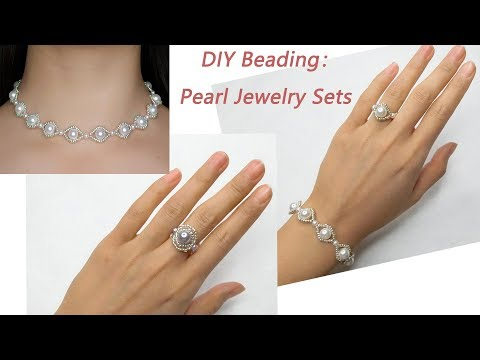 How to Make Beading Pearl Jewelry Set: DIY Pearl Bracelet, Pearl Choker and Pearl Beading Ring