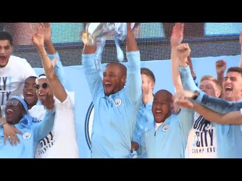 Manchester City Lift The Premier League Trophy In Front Of Manchester Crowd
