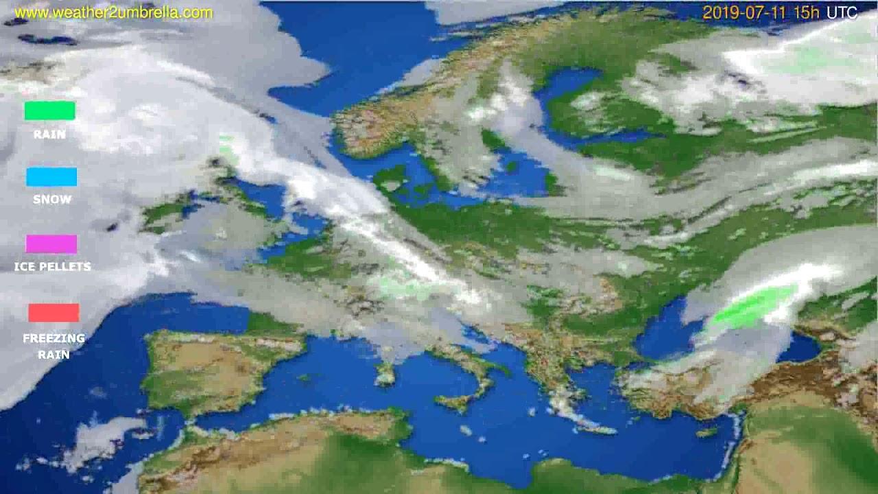 Precipitation forecast Europe // modelrun: 12h UTC 2019-07-08