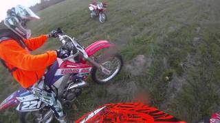 9. 2005 crf250r vs. 2003 cr250r drag race
