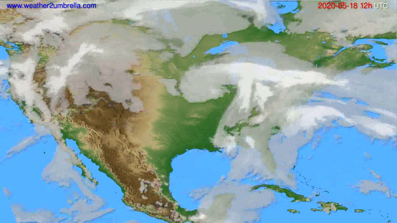 Cloud forecast USA & Canada // modelrun: 00h UTC 2020-05-18