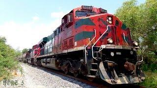 Aquí les dejo un tren de Ferromex rumbo Sur, ahora se trata de un grano cargado que paso a toda velocidad por el Ojo de Agua de San Pancho, en esta ocasión la locomotora líder fue una ES44AC la 4683 y en múltiple venía una SD70ACe la 4093 y remotas al final del tren venían la 4063 y 4007 una Mancuerna de SD70ACe, este tren lo grabe en la placa kilométrica # 433 de la línea A del Distrito de León, en el municipio de San Francisco del Rincón, Guanajuato. México NOAS_5