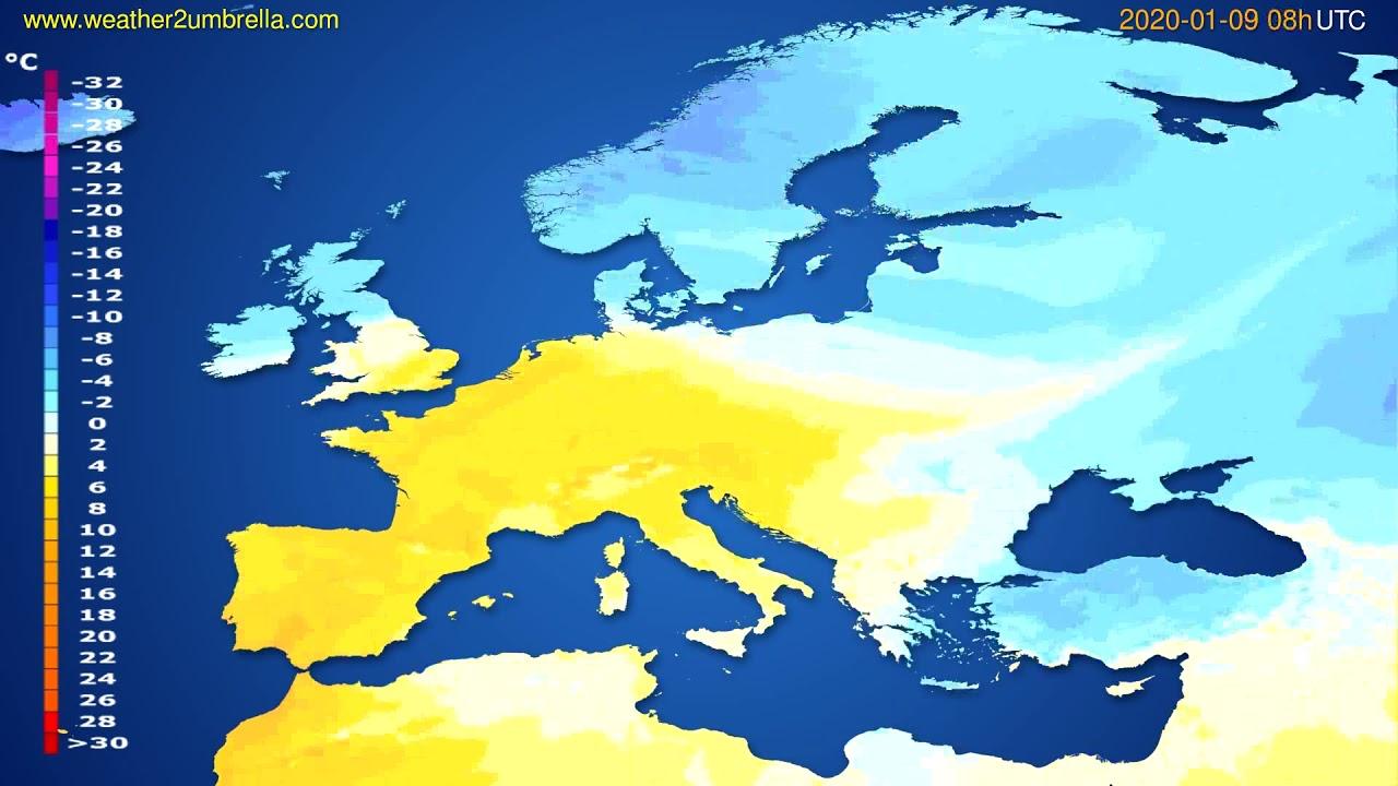 Temperature forecast Europe // modelrun: 12h UTC 2020-01-08