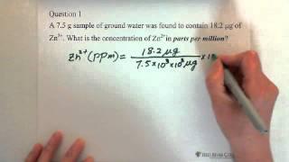 7. Concentration of Solution: Parts per million (ppm) 1