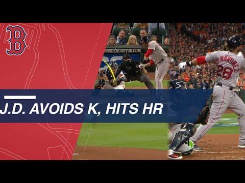Video: Martinez avoids strike-three call, crushes homer