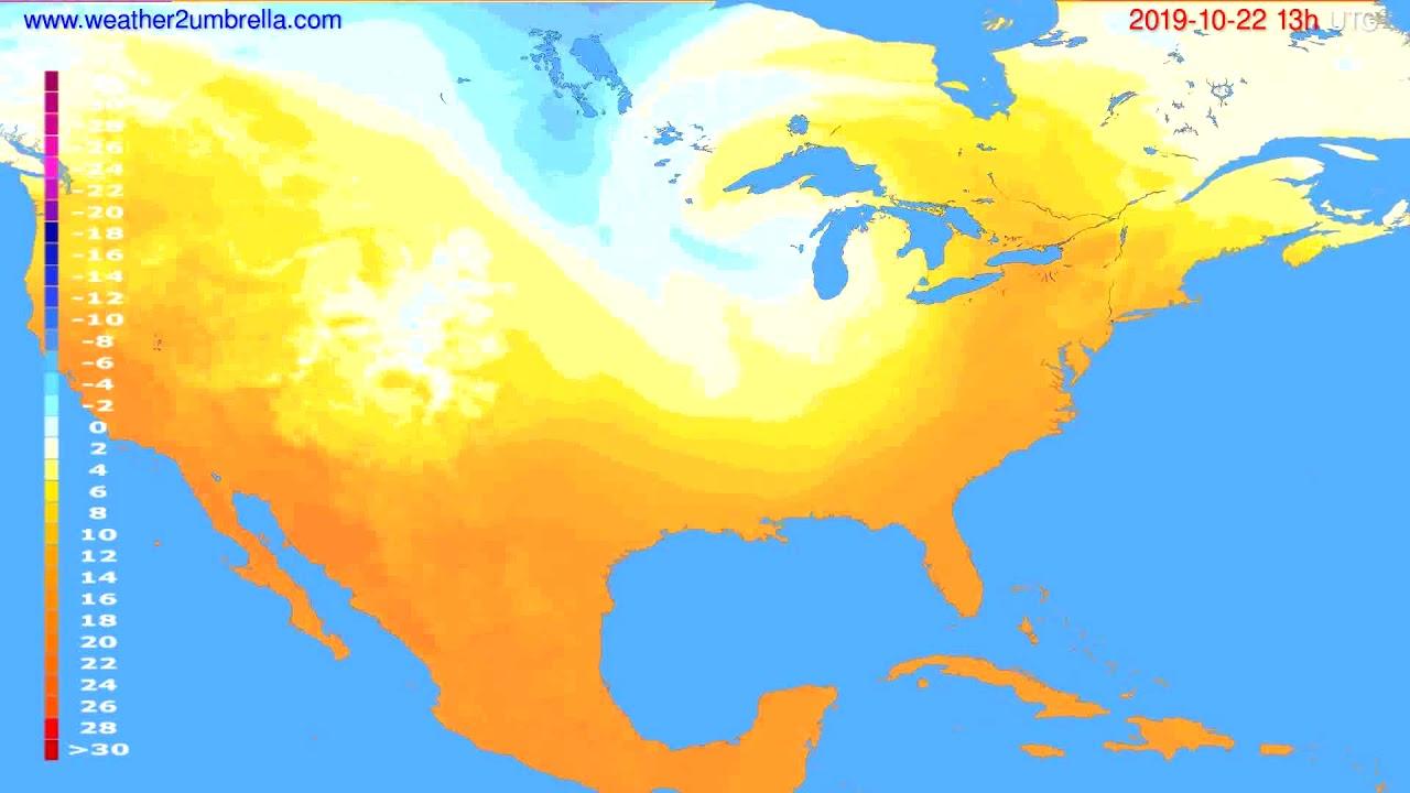 Temperature forecast USA & Canada // modelrun: 12h UTC 2019-10-20