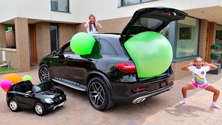 Giant Balloon Stuck In Our Car - Surprise Toys For Kids - Shopkins - Kinder Surprise Disney Toys