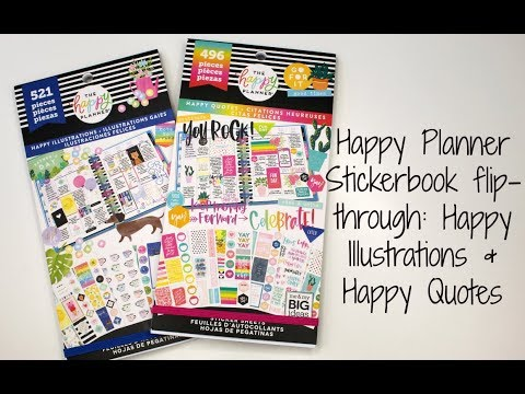 Happy Planner Sticker book flip-through  Happy Illustrations & Happy Quotes  Meg's Got a Plan