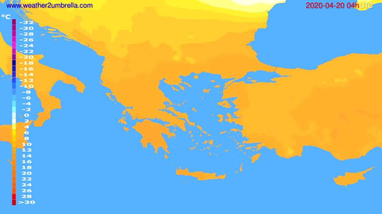 Temperature forecast Greece // modelrun: 12h UTC 2020-04-19