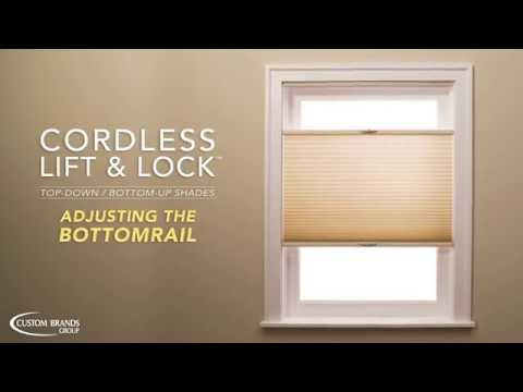 Honeycomb Shades: Top-Down / Bottom-Up Cordless Lift & Lock Bottomrail Adjustment