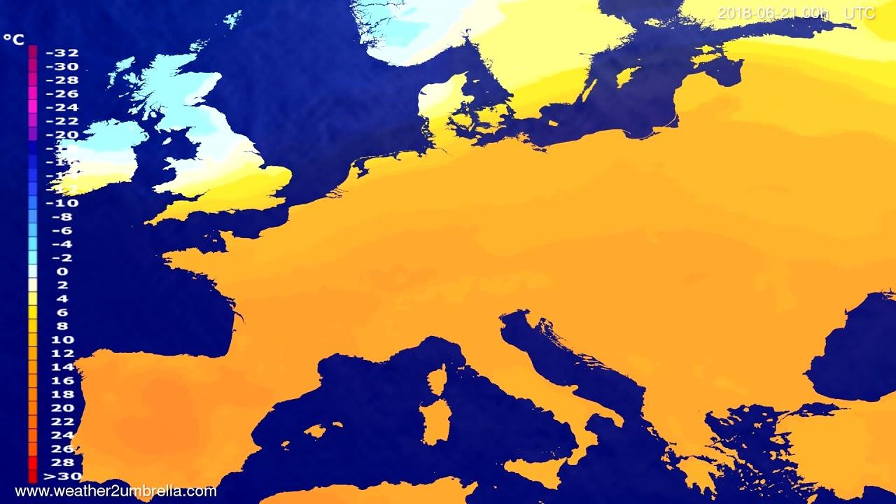 Temperature forecast Europe 2018-06-18