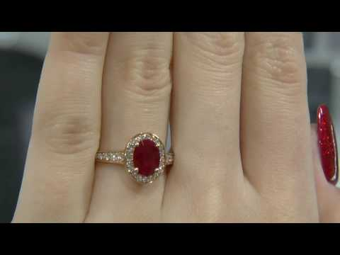 1.78 Carat Oval Cut Ruby and Diamond Halo Engagement Ring GR022
