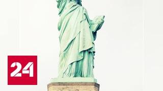 Популярный микроблогер повесил на Статую Свободы баннер с приглашением для мигрантов