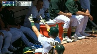 Ryon Healy hits a three-run homer for his first career hit, giving the Athletics a 4-2 lead and delighting his family in attendance...