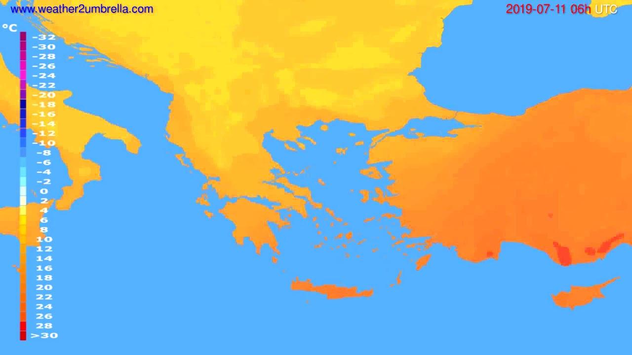 Temperature forecast Greece // modelrun: 12h UTC 2019-07-08