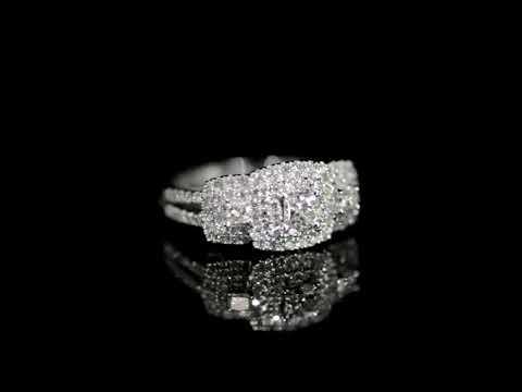Lady's 14k White Gold 1.00ct (TDW) Cluster Diamond Ring