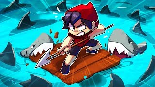 Guy and Girl Find 1,000 SHARK ISLAND In Raft!