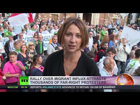 At - Thousands of people took to the streets of Milan on Saturday as anti-immigration demonstrators from the right-wing Lega Nord party were confronted by an anti-racism rally. READ MORE: http://on.rt....