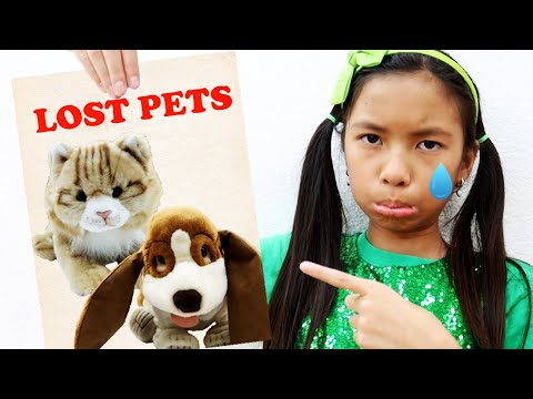 Wendy Pretend Play Looking for Lost Pets | Cats and Dog Pets for Kids