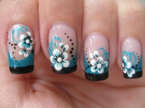 nail art-doppio french colorato con fiore!