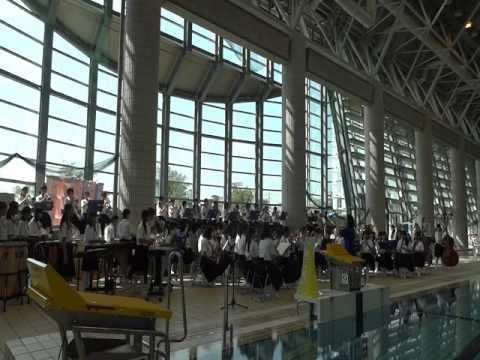 第二回鈴鹿市水泳大会白子中学校吹奏楽部による演奏風景