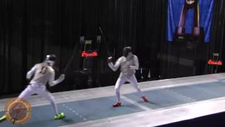 This is a semifinal bout in the men's foil event at the NCAA fencing championships in Indianapolis, Indiana. Andras Nemeth of St. Johns University is on the right and Alexander Massialas of Stanford University is on the left.