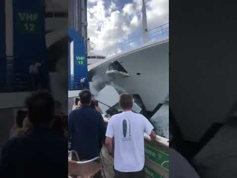 Построенная для Абрамовича яхта снесла будку смотрителя на причале