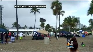 Several children were injured after a waterspout lifted a bounce house up into the air near the Bahia Mar on Ft. Lauderdale beach.