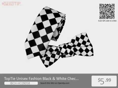 TopTie Unisex Fashion Black & White Checkerboard Skinny Necktie Bowtie Matching Set from Opentip.com