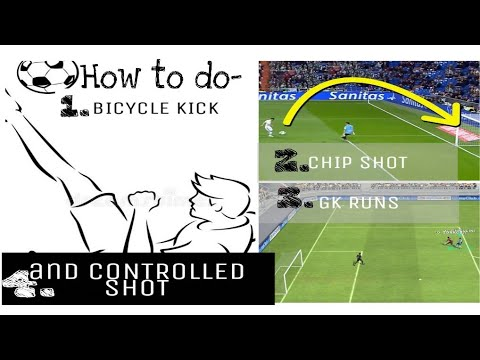 How To Shoot Chip Ball/Controlled Shot//do//Goalkeeper Runs And Bicycle Kick- In PES18 Mobile
