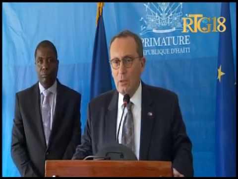 Le Premier ministre haïtien, Enex Jean-Charles rencontre une délégation de l'Union Européenne.