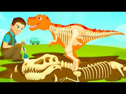 Fun Jurassic Dig Game - Kids Find Dinosaur Bones With Cute Vehicles - Dino Game For Kids
