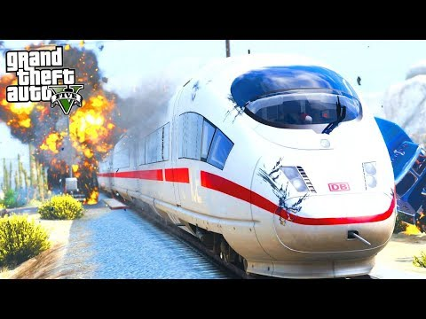 GTA 5 HUGE TRAIN CRASHES! FASTEST TRAIN CRUSHES ME AT 300K/PH! (GTA 5 PC MODS GAMEPLAY)