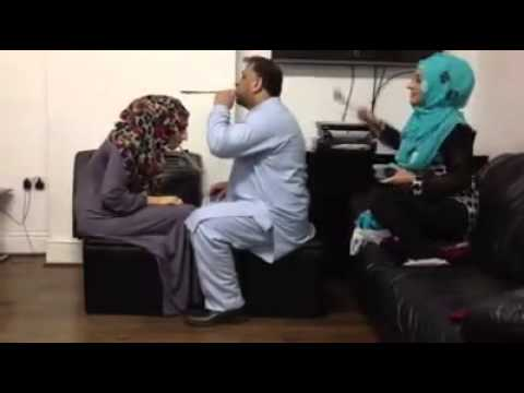 Funny prank Two muslims Girls vs Man  || hitting on head By wooden Spoons|| Cheated prank