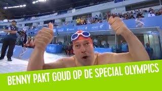 Belgische Benny Jans pakt goud op de Special Olympics op de 50 meter vrije slag | Maarten & Dorothee