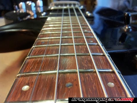 Leveling, crowning and dressing the frets of a worn PRS guitar