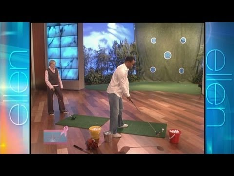 Tigers Woods plays golf with Ellen DeGeneres