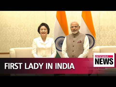 First Lady Kim Jung-sook meets with Indian PM Modi as official representative of S. Korea