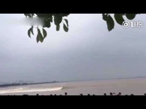 The moment spectators got hit by strong tidal bore at Qiantang River in east China
