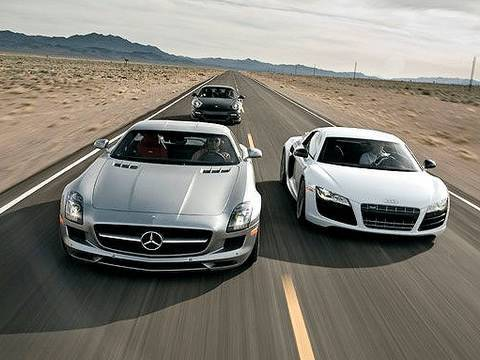 Porsche 911 Turbo, Audi R8 V10, Mercedes-Benz SLS AMG
