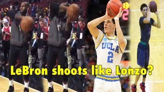 Lonzo Ball, the eldest sibling of the Ball Brothers (Lonzo, LiAngelo & LaMelo Ball) has been the most-talked about player in the basketball scene in the year 2017, due to his successful UCLA season, and his outspoken father LaVar Ball promoting Lonzo out there.The former UCLA guard is projected to be a 2nd overall pick in the coming 2017 NBA Draft either by the Los Angeles Lakers or Boston Celtics.Lonzo Ball is known for his unusual/unorthodox shooting form, which is somewhat similar to Kevin Martin's form. Lonzo's shooting form gave most people the first impression of missed shots, but instead it is the totally the opposite.LeBron James warmed up before the Cavaliers game against the Bulls on Thursday night and debuted a new shooting form similar to Lonzo Ball's. We couldn't tell if LeBron is really trying out Lonzo's shot, or is it just his creative shot created randomly by the King himself? Let us know what you guys think about this in the comment section below.● FACEBOOK : https://www.facebook.com/jimmyballers20