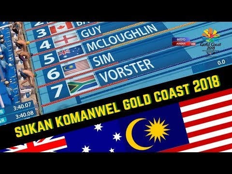 Sorotan Aksi Welson Sim | Renang Gaya Bebas 400M | Sukan Komanwel Gold Coast 2018 | Astro Arena