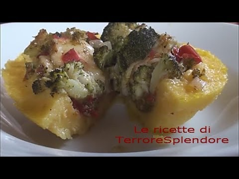 video ricetta: scodelline di polenta con broccoli.